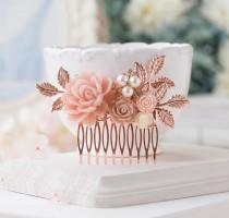 wedding photo - Rose Gold Bridal Hair Comb, Blush Pink Ivory Dusty Rose Cream pearls rhinestones Bridal Hair Piece, Vintage Style, Victorian, Hair Slide