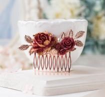 wedding photo - Rose Gold Comb, Burgundy Wedding Hair Accessory, Maroon Bridal Hair Comb, Dark Red Blush Pink, Bridal Hairpiece, Fall Winter Wedding Comb