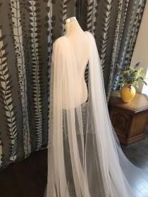"wedding photo - Plain Wedding Cape Veil__ 108""W x 120""L, Bridal Shoulder Veil, White/ Off White/ Ivory__ (CV01)"