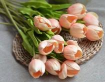 wedding photo - Peach Blush Tulips Real Touch Flowers DIY Silk Bridal Bouquets Wedding Centerpieces Flowers Wedding Bouquets
