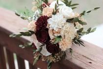 wedding photo - Marsala Peach Sola Bouquet, wedding bouquet, bridal bouquet, Marsala blush bouquet, maroon peach bouquet, sola flowers, country wedding