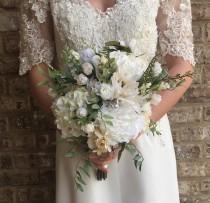 wedding photo - Wedding Bouquet, White Bouquet, Silk Bouquet, Bridal Bouquet, Bridesmaid Bouquet, Bridal Portrait Bouquet, Greenery Bouquet, Silk Flowers