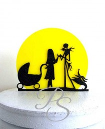 wedding photo - Wedding Cake Topper, Baby Shower Cake Topper -The Nightmare Before Christmas Jack and Sally silhouette with a yellow moon