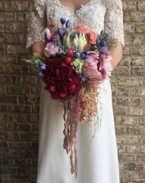 wedding photo - Wedding Bouquet, Bohemian Bouquet, Silk Flower Bouquet, Bridesmaid Bouquet, Bridal Bouquet, Silk Flowers, Protea Bouquet, Ready to Ship