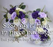 wedding photo - Wedding Bouquet, Bridal Bouquet, Bridesmaid Bouquet, Silk Flower Bouquet, Wedding Flower, 17 Pc Package, Purple, Lavender, Lily of Angeles