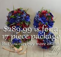 wedding photo - Wedding Bouquet, Bridal Bouquet, Bridesmaid Bouquet, Silk Flower, Wedding Flower, Burgundy, Maroon, Navy, Royal, Blue, Cobalt, LilyOfAngeles