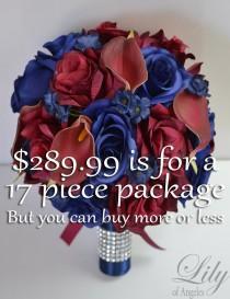 wedding photo - Wedding Bouquet, Bridal Bouquet, Bridesmaid Bouquet, Silk Flower, Wedding Flower, Navy Blue, Burgundy, Navy, Maroon, Blue, Lily of Angeles