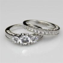 wedding photo - 1ct Round Esdomera Moissanite Vintage Filigree 3-stones 14k White Gold Wedding Bridal Set Engagament Ring Band (CFR0226WS-ESMS1CT)