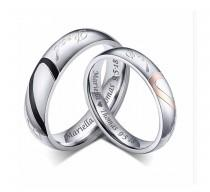 wedding photo - Personalized Stainless Steel Sweetheart Couple's Ring Set Custom Engraved Free, Promise Ring