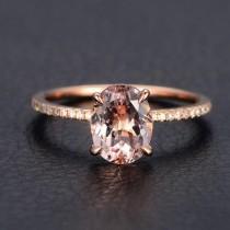wedding photo - Limited Time Sale 1.25 carat Morganite and Diamond Engagement Ring in 10k Rose Gold Morganite Rings