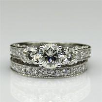 wedding photo - Round 1ct Esdomera Moissanite Vintage Style 3-stones 14k White Gold Wedding Bridal Set Engagament Ring Band (CFR0226WS-MS1CT)