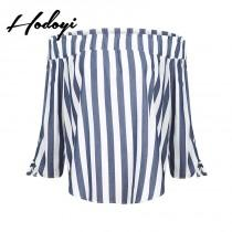 wedding photo - Vogue Sexy Sweet Solid Color Bateau Off-the-Shoulder Summer Casual Stripped Blouse - Bonny YZOZO Boutique Store