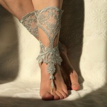 wedding photo - lace barefoot sandals beach wedding 11 color lace jewelry bridal accessories bangle bridesmaid accessory lace shoes sandals foot jewelry