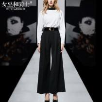 wedding photo - Street Style Scoop Neck Summer 9/10 Sleeves Outfit Wide Leg Pant Long Trouser Belt Top - Bonny YZOZO Boutique Store
