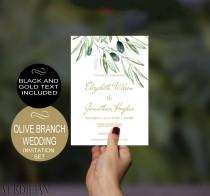 wedding photo - Olive Branch Wedding Invitation Template - Gold - Rustic Watercolor-DIY Printable Wedding Invitation-PDF-Instant Download