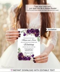 wedding photo - Eggplant Wedding Invitation Template, Boho Chic Wedding Invitation,  #A039, Instant Download, Editable PDF