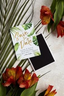 wedding photo - Destination Wedding Save the Date Magnet - Tropical Palm Leaves