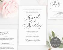wedding photo - Elegant Wedding Invitation Set, TRY BEFORE You BUY, Rsvp & Details Card, 100% Editable, Printable Invitation, Instant Download