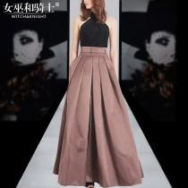 wedding photo - Casual Vogue Sexy Ruffle Halter Off-the-Shoulder Summer Twinset Long Skirt Top - Bonny YZOZO Boutique Store