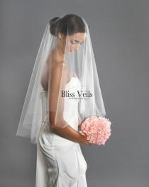 wedding photo - Drop Veil - Fingertip Veil - Soft Wedding Veil - Blusher Veil Veil- Available in 10 Sizes & 11 Colors - Fast Shipping!