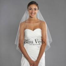 wedding photo - Simple Bridal Veil - 1 Tier Wedding Veil - Fingertip Length Veil - Elegant Veil - Chapel Veil -  10 Sizes & 11 Colors - Fast Shipping!