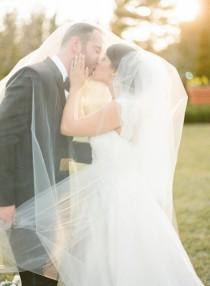 wedding photo - Double Layer Two tier Cathedral length Wedding Bridal Veil 108 inches white, ivory, Wedding veil Fingertip bridal Elbow Chapel cut edge veil