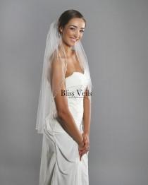 wedding photo - Crystal Beaded Veil,  Wedding Veil with Pearls, Bridal Veil, Ivory Fingertip Veil -  Fast Shipping!