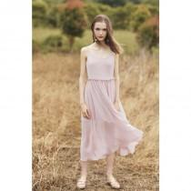 wedding photo - Simple Printed Split Front Agaric Fold High Waisted Shine Strappy Top Dress - Bonny YZOZO Boutique Store