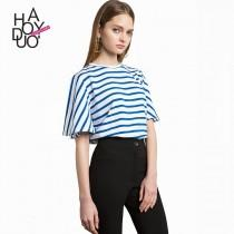 wedding photo - School Style Must-have Oversized Fresh 1/2 Sleeves White Blue Summer Stripped T-shirt - Bonny YZOZO Boutique Store