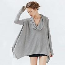 wedding photo - Oversized Vogue Asymmetrical Batwing Sleeves Pile Collar Edgy T-shirt Top - Bonny YZOZO Boutique Store