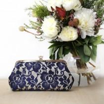 wedding photo - Champagne Navy Peony Lace Wedding Photo Clutch for Birdes, Mother of the Bride and Groom and Bridesmaid Clutch, Personalized Gift for Her