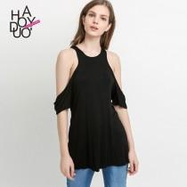wedding photo - Vogue Sexy Hollow Out Off-the-Shoulder Racerback Spring T-shirt - Bonny YZOZO Boutique Store