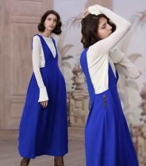 wedding photo - blue wool dress, wool halter dress, wool jumper, wool maxi dress, wool V neck dress, long wool dress, winter dress, maxi dress, party dress