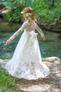 wedding photo - Flower Girl Dress-lvory Lace Long Sleeve Dress- Baby Flower Girl Dress- Dresses- Ivory Girls Dress-Cream Dress- Rustic Wedding Dress