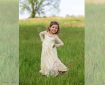 wedding photo - Lace Girl Dress, Flower Girl Dress, Flower Girl Lace Dresses, Long Sleeve Dress, Country Lace Dress, Cream Toddler Dress, Ivory Lace Dress