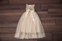 wedding photo - Champagne Cream Flower Girl Dress, Gold Sequin Top, Floor Length Dress, Beige Wedding, Sash Belt Set, Tutu Dress, Ball Gown, Lace, Boho Chic