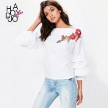 wedding photo - Sweet Attractive Embroidery Frilled Sleeves Multi Layered Floral Fall Casual Blouse - Bonny YZOZO Boutique Store