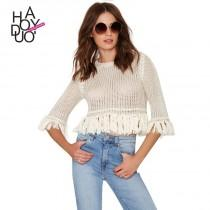 wedding photo - Spring 2017 new stylish woven openwork knit fringed hem women's sweaters - Bonny YZOZO Boutique Store