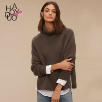 wedding photo - Must-have Vogue Split High Neck One Color Fall 9/10 Sleeves Sweater - Bonny YZOZO Boutique Store