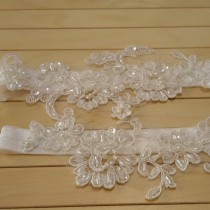 wedding photo - ivory lace garter set bridal wedding accessory weddings days beaded pearl scaly special occasions gifts lace suspenders foot ornament garter