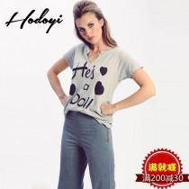 wedding photo - Casual Oversized Vogue Sexy Sport Style Printed V-neck Short Sleeves Alphabet Summer T-shirt - Bonny YZOZO Boutique Store