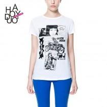 wedding photo - Classic Slimming Scoop Neck Short Sleeves T-shirt - Bonny YZOZO Boutique Store