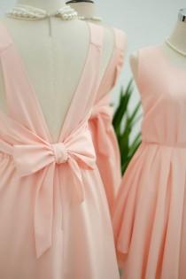 wedding photo - Pink blush dress pink Bridesmaid dress Wedding Prom dress Cocktail Party dress Evening dress Backless bow dress