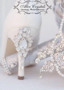wedding photo - Wedding Shoes heel rhinestone. White crystal Bridal Shoes. Heel Crystal wedding shoes .