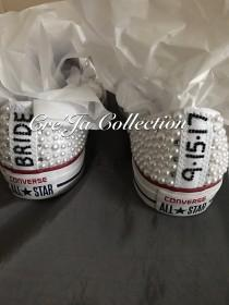 wedding photo - Wedding Converse, Pearl Converse, Bridal Converse, Wedding Sneakers, Bridal Sneakers,White Pearl Sneakers, Custom Wedding Shoes, All White