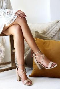 wedding photo - Ladies Nude Leather Block Heels, Wedding Shoes, Plaited straps, Boho Bridal Shoe, Designer Shoes, Wedding Heels, Style: Peace & Love Nude