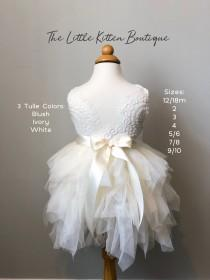 wedding photo - Flower Girl Dress Ivory Flower Girl Dress Blush Flower Girl Dress Lace Flower Girl Dresses Tulle  tutu Flower Girl Dresses birthday dress