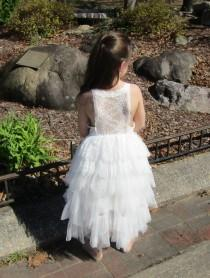 wedding photo - Lace Flower Girl Dress, White Flower Girl Dress, Tulle Flower Girl Dress, Boho Flower Girl Dress, Junior Bridesmaid, Rustic wedding, Beach