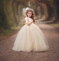 wedding photo - Lace Flower Girl Dress Ivory Lace  Flower Girl Dress with Champagne Tutu Style One Strap Off the Shoulder Tulle Dress for Girls