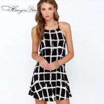 wedding photo - Open Back Printed Scoop Neck Sleeveless Black & White Stripped Strappy Top Dress Skirt - Bonny YZOZO Boutique Store